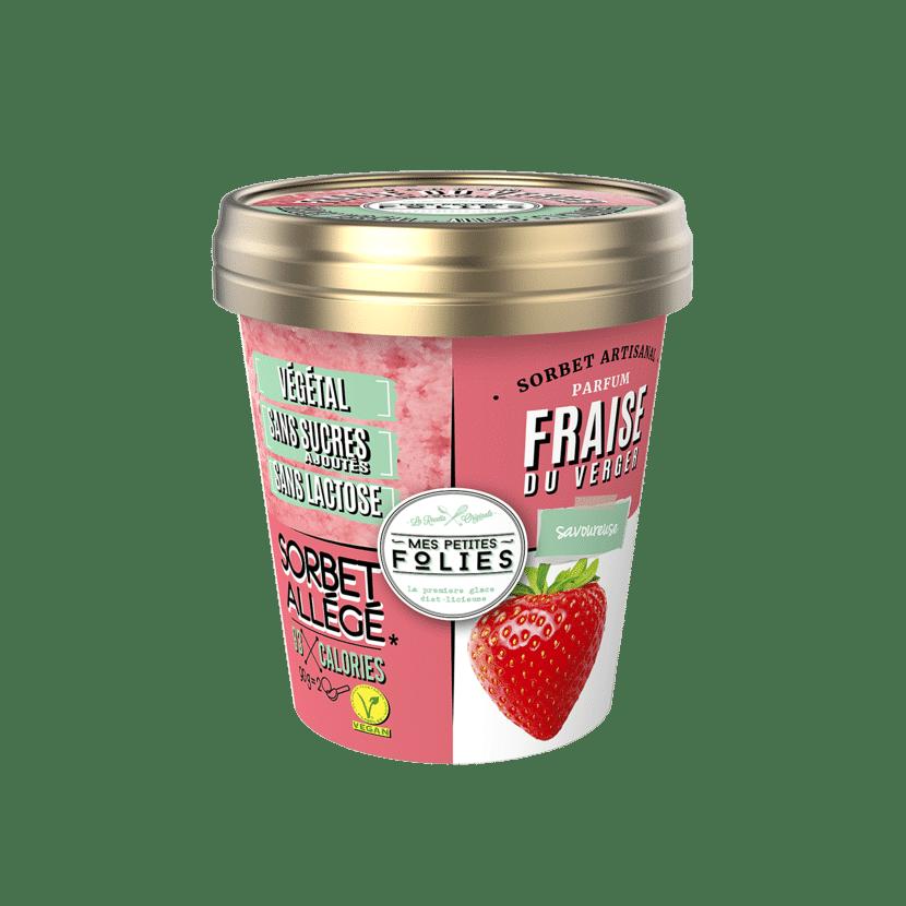 Sorbet Vegan, allégé en calories, Fraise du Verger